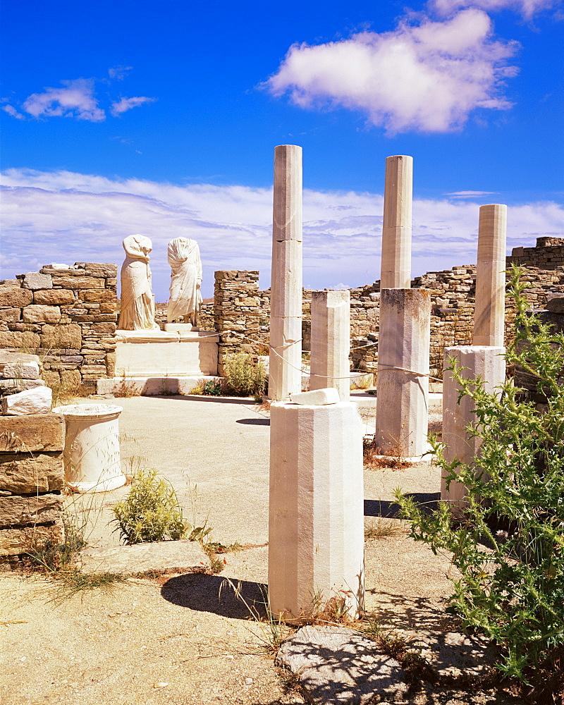Establishment of the Poseidoniasts, island of Delos, UNESCO World Heritage Site, Cyclades, Greek Islands, Greece, Europe