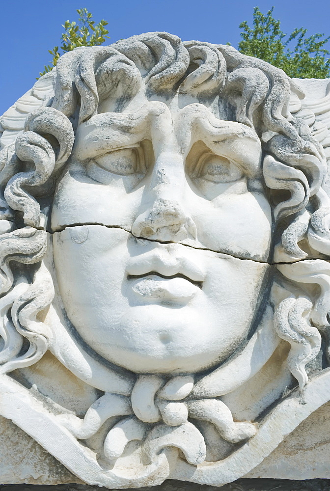 Close-up of Medusa head, Temple of Apollo, Didyma, Anatolia, Turkey, Asia Minor, Eurasia - 718-1441