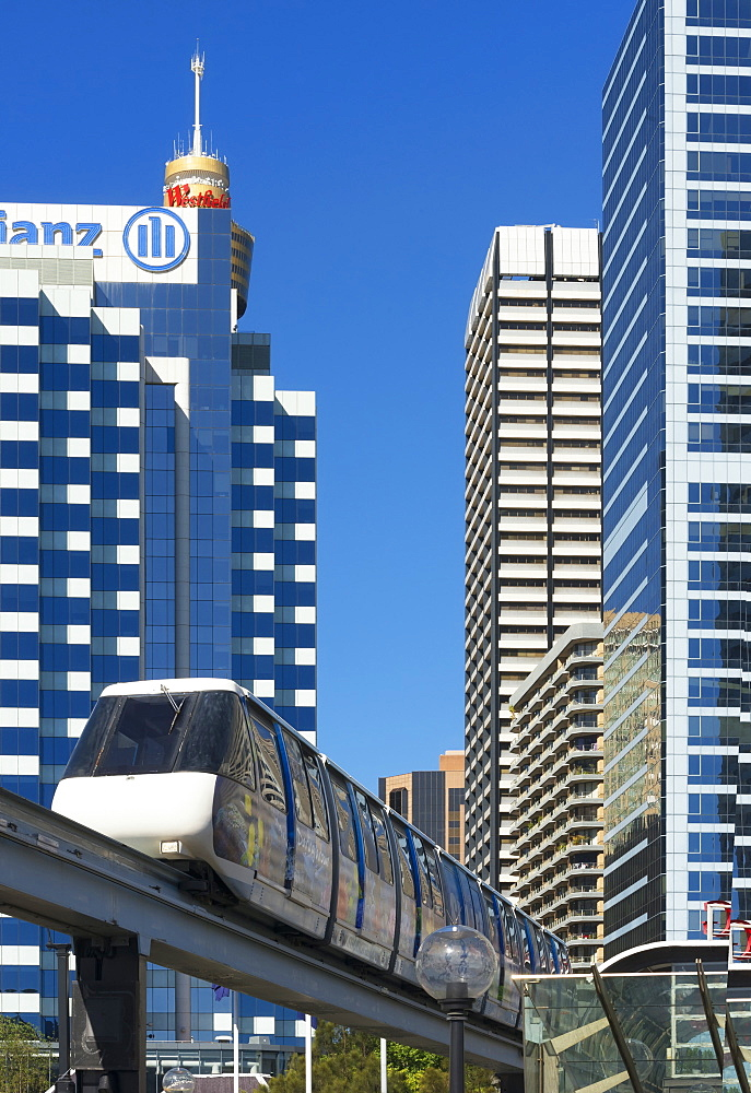 Monorail through city, Sydney, New South Wales, Australia, Pacific