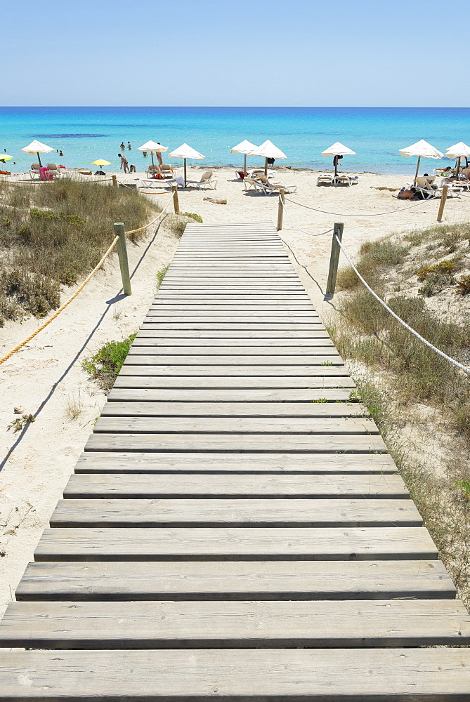 Wooden bridge leading to Mitjorn beach, Formentera, Balearic Islands, Spain, Mediterranean, Europe