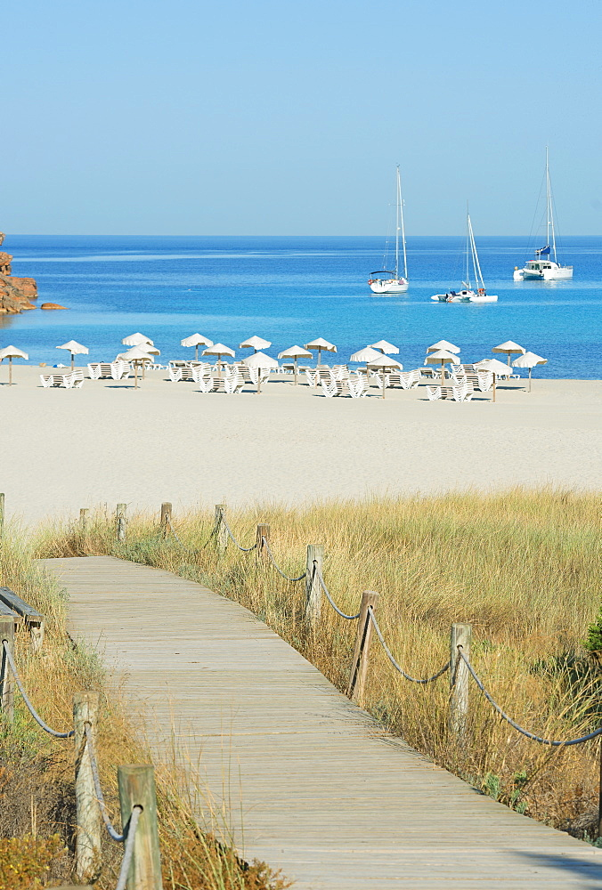 Wooden bridge leading to Cala Saona, Formentera, Balearic Islands, Spain, Mediterranean, Europe
