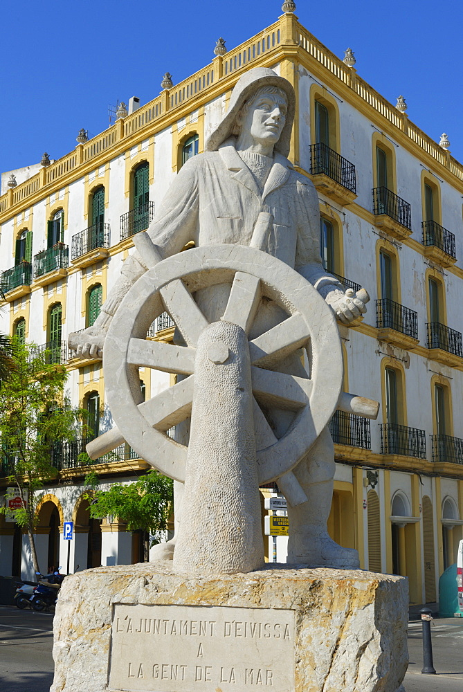 Seafarers monument, Ibiza town, Ibiza, Balearic Islands, Spain, Europe