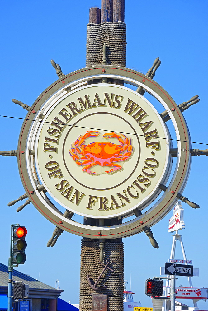 Fishermans Wharf sign, San Francisco, California, United States of America, North America