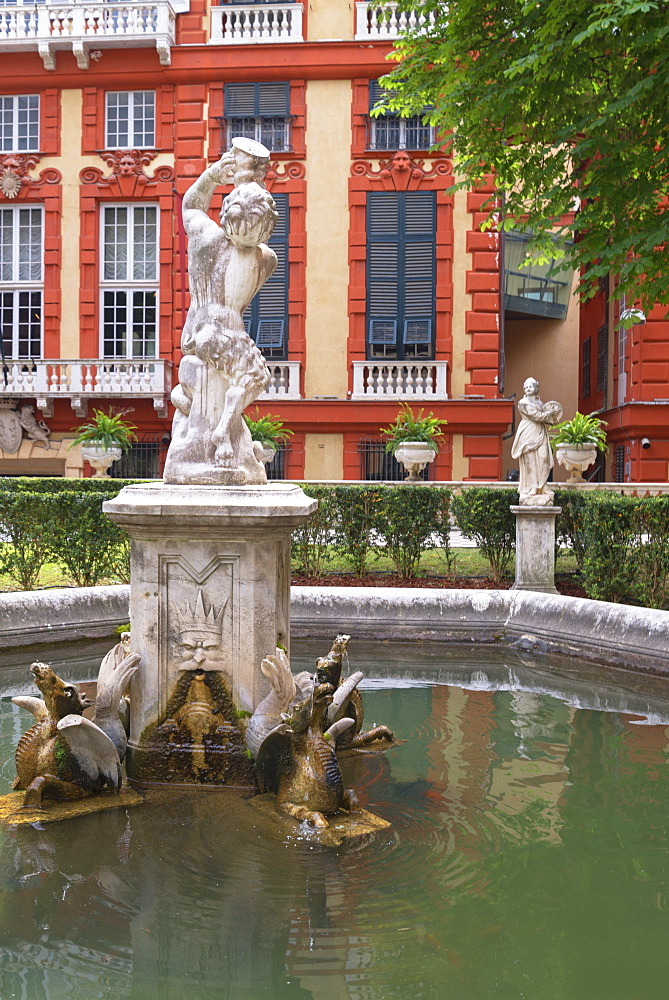 Palazzo Bianco gardens with Palazzo Rosso in the background, Genoa, Liguria, Italy, Europe, World Heritage Site - 718-2202
