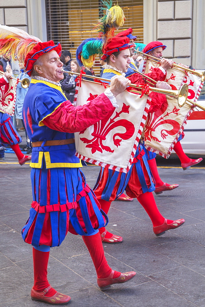 Participants in the Explosion of the Cart festival marching through Florence in historical costumes, Florence, Tuscany, Italy, - 718-2307