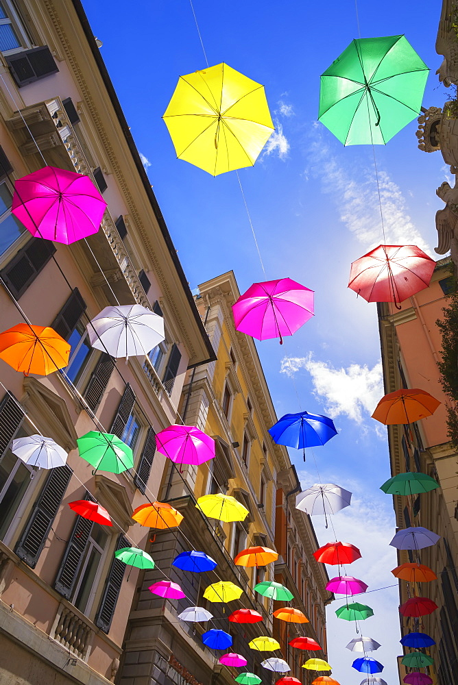 Brightly coloured floating umbrellas, Genoa, Liguria, Italy, Europe - 718-2308