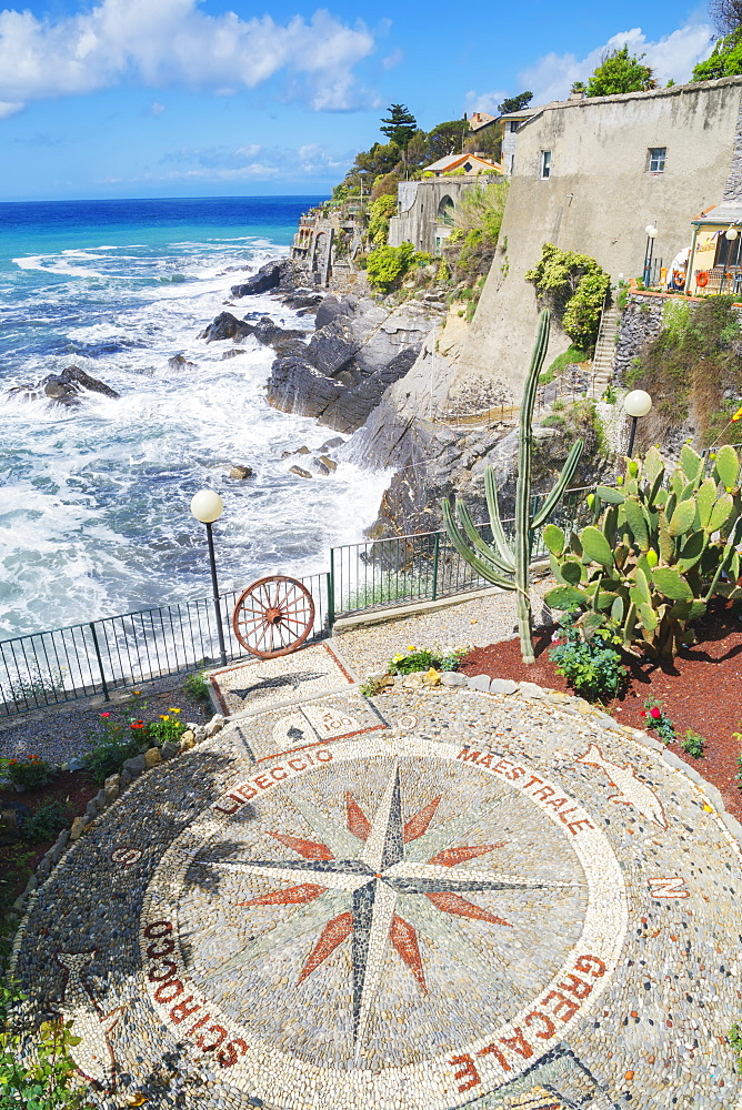 Stone mosaic of the winds the Mediterranean in village of Bogliasco, Bogliasco, Liguria, Italy, Europe