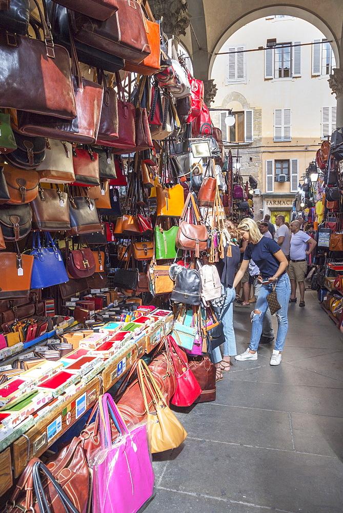 Handbag stall at Mercato Nuovo market in Florence, Tuscany, Italy, Europe