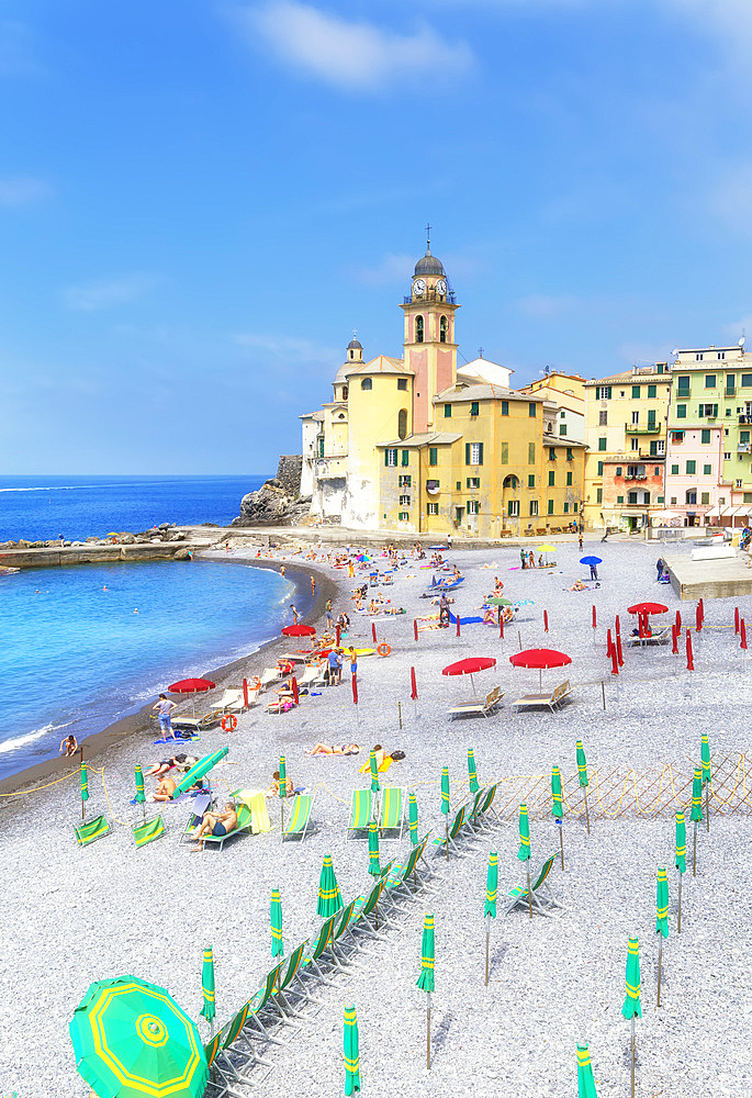 Old church and beach view, Camogli, Riviera di Levante, Liguria, Italy, Europe