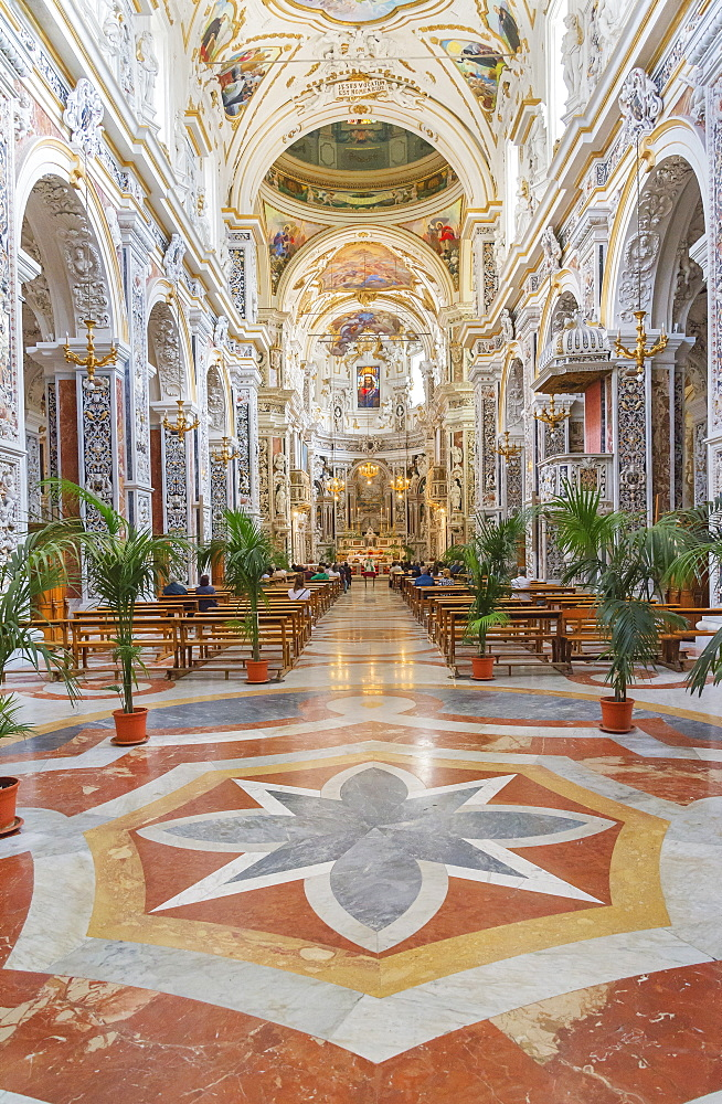 Interior of The Church of Saint Mary of Gesu, Palermo, Sicily, Italy, Europe