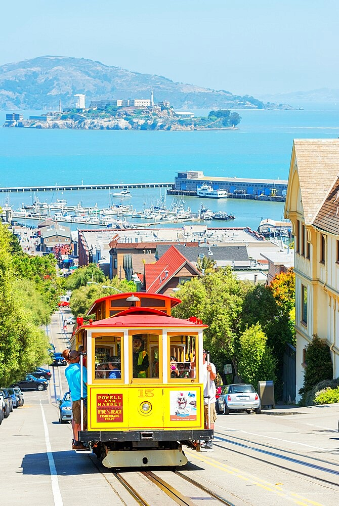 Powell-Hyde line cable car with Alcatraz Island in the background, San Francisco, California, United States of America, North America - 718-2564