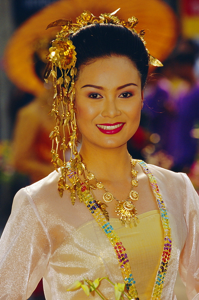 Thai 'queen' competing for 'Flower Festival Queen' title, Chiang Mai, Thailand, Asia *** Local Caption ***