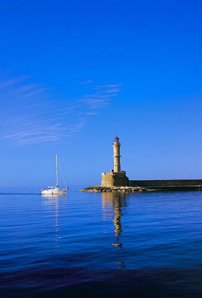 Hania (Chania) harbour and lighthouse, island of Crete, Greece, Mediterranean, Europe