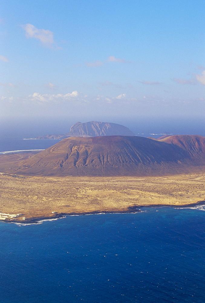 Aerial view of La Graciosa Island volcanoes from El Mirador del Rio, Lanzarote, Canary Islands, Spain, Atlantic, Europe