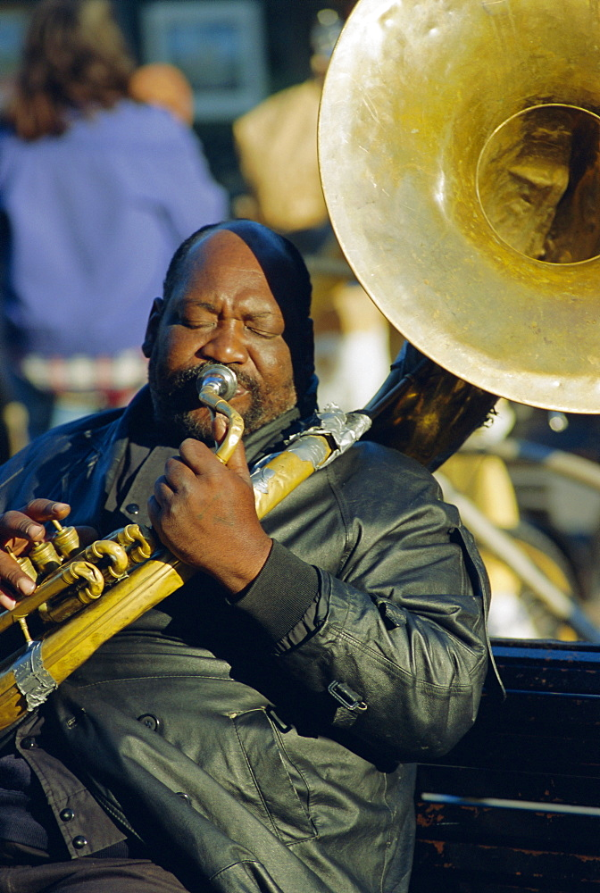 Portrait of a jazz musician in the French Quarter, New Orleans, Louisiana, USA