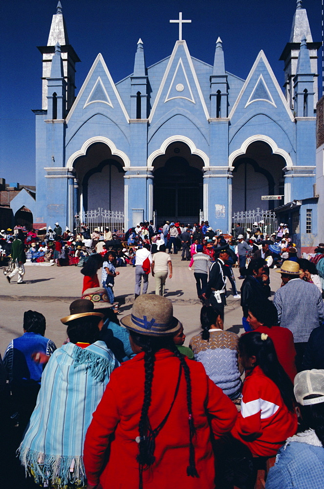 Locals gathering ata church, Puno, Peru, South America - 724-1185