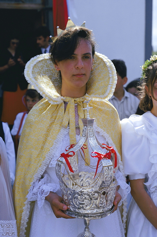 Portrait of a young woman, Saint Esprit festival, Cedros, Faial island, Azores, Portugal, Europe, Atlantic Ocean
