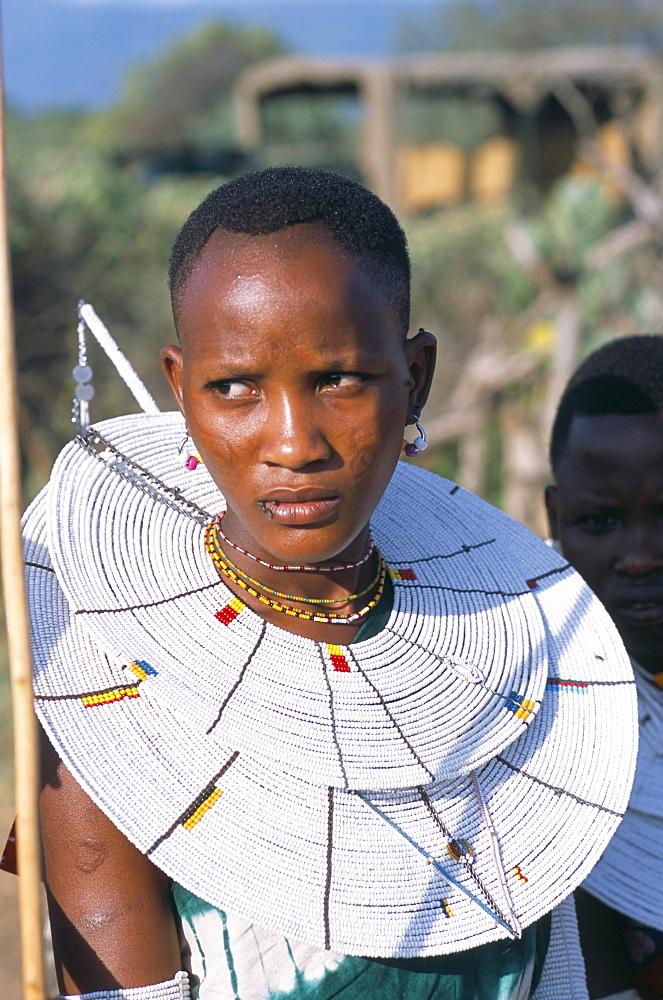Portrait of a Masai woman, Alamal, ritual festival, Maasai village (manyatta), Rift Valley, southeast Kenya, East Africa, Africa