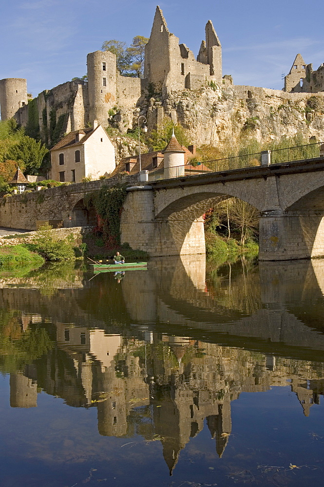 An angler on the Anglin river, with the medieval castle built between the 11th and 15th centuries behind, Angles sur l'Anglin, Vienne, Poitou-Charentes, France, Europe