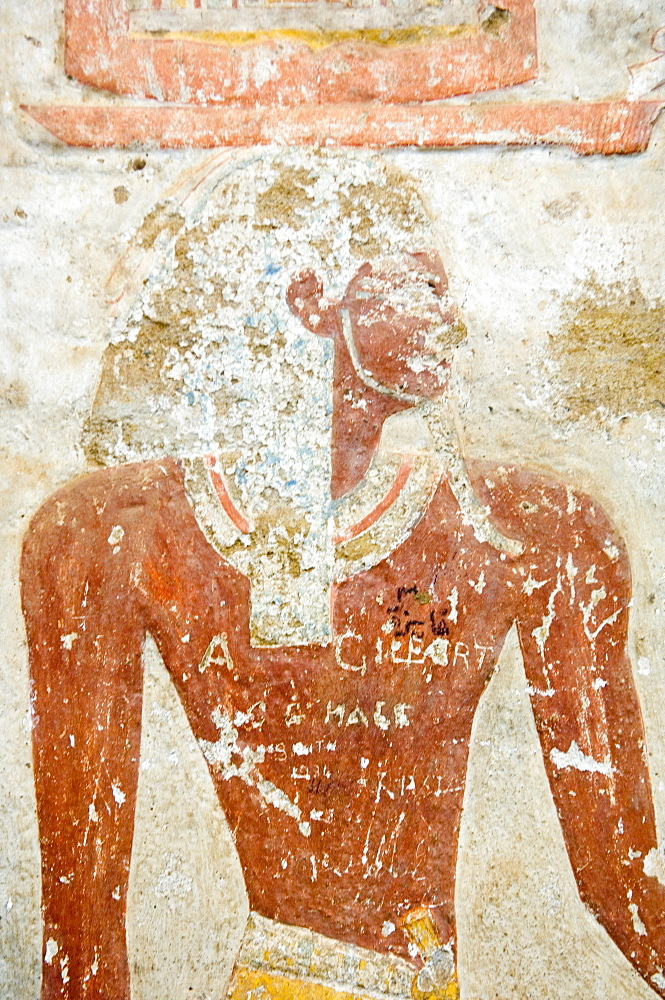 Detail of wall painting from Egyptian temple salvaged from Nubian land flooded by Lake Nasser, National Museum, Khartoum, Sudan, Africa