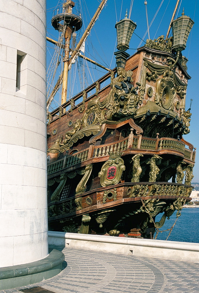 Ship used in the film 'Pirates', Cannes, Alpes Maritimes, Cote d'Azur, Provence, France, Mediterranean, Europe
