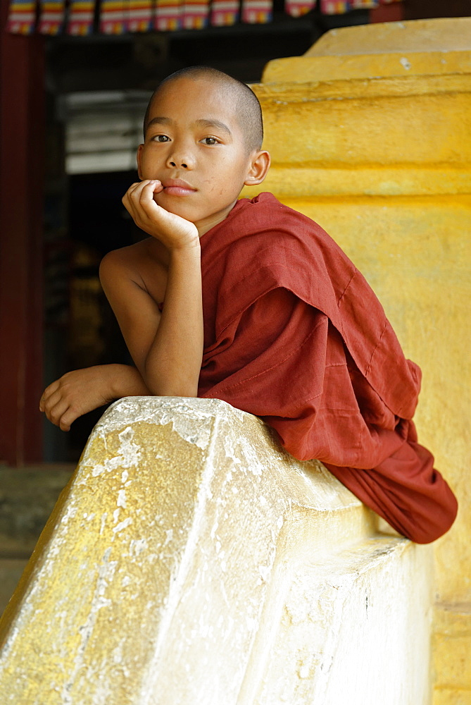 Novice monk, Buddhist monastery, Hsipaw area, Shan State, Republic of the Union of Myanmar (Burma), Asia - 724-2403