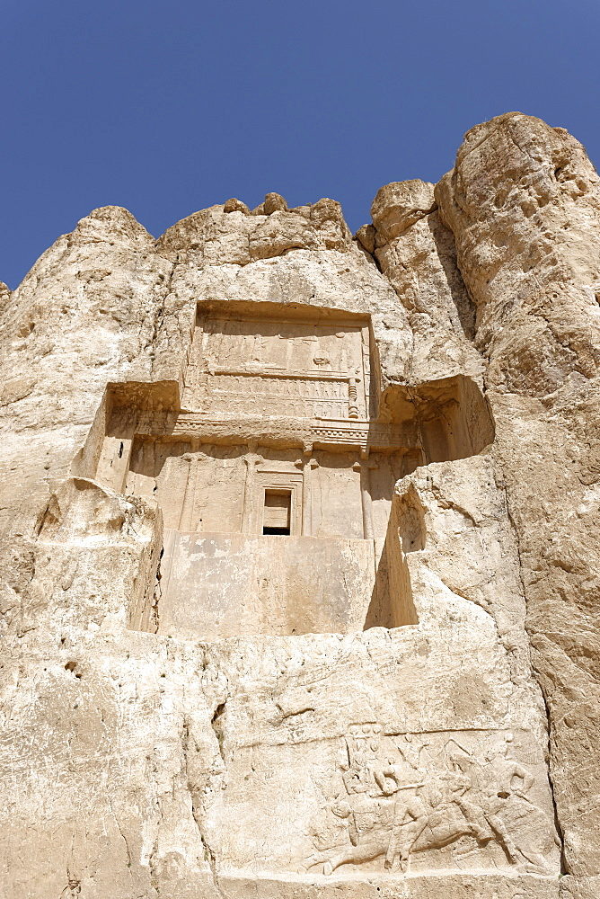The tomb of Darius I at the historical Naqsh-e Rostam necropolis, Persepolis area, Iran, Middle East - 724-2531