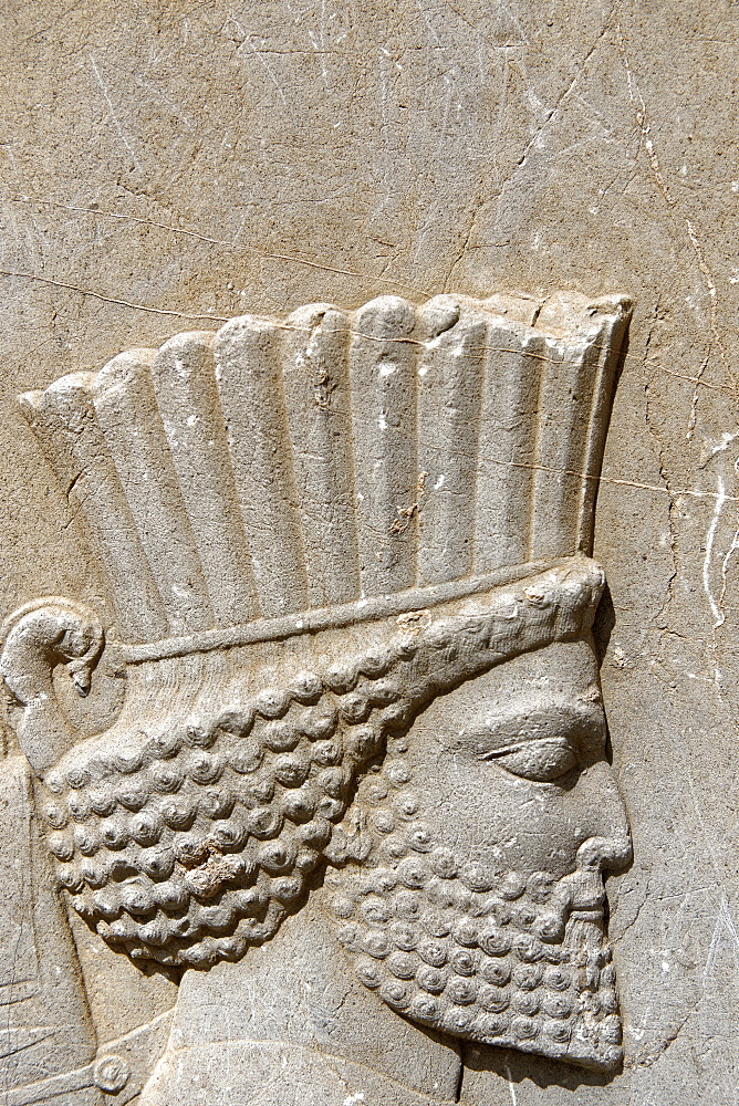 Bas relief of a Persian soldier, Persepolis, Iran, Middle East - 724-2544