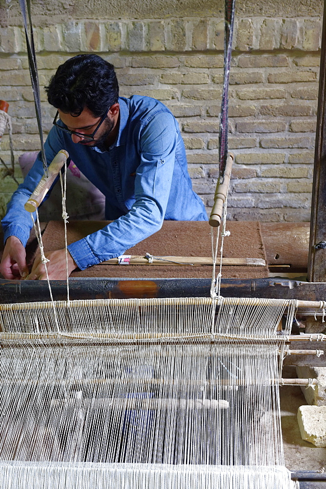 Weaver, Nain, Isfahan Province, Iran, Middle East
