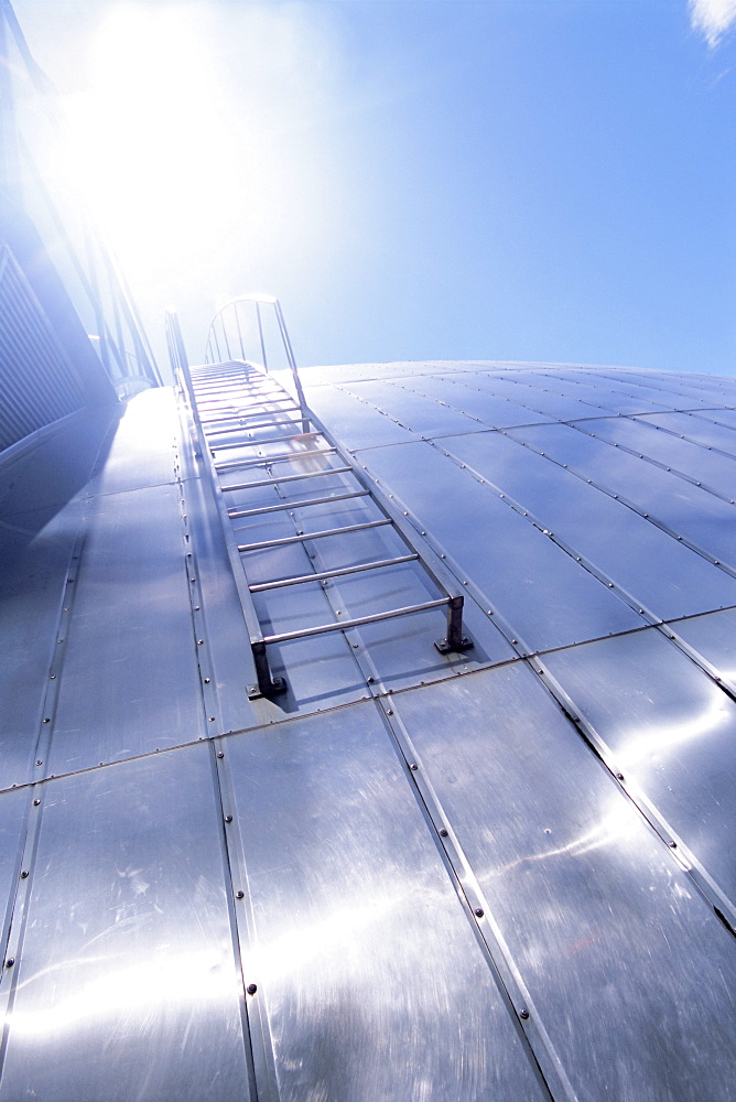 Shiny metal roof and ladder