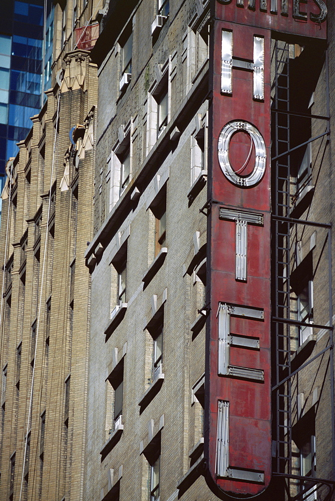 Close-up of hotel sign, New York, USA, North America