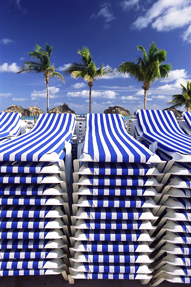 Stacks of sunbeds, Bahamas, West Indies, Central America