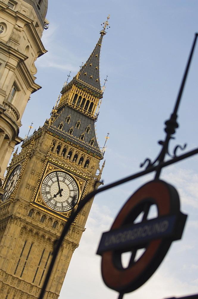 Underground station sign and Big Ben, Westminster, London, England, United Kingdom, Europe