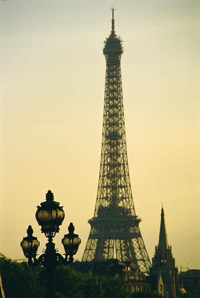 Silhouette, Eiffel Tower, Paris, France  - 728-328