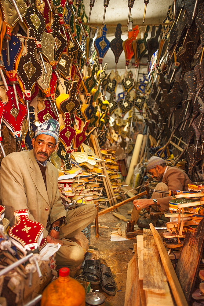 Bellows maker in the Medina, Marrakech, Morocco, North Africa, Africa