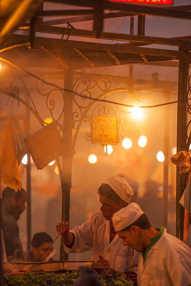 Food vendors in the Medina, Marrakech, Morocco, North Africa, Africa