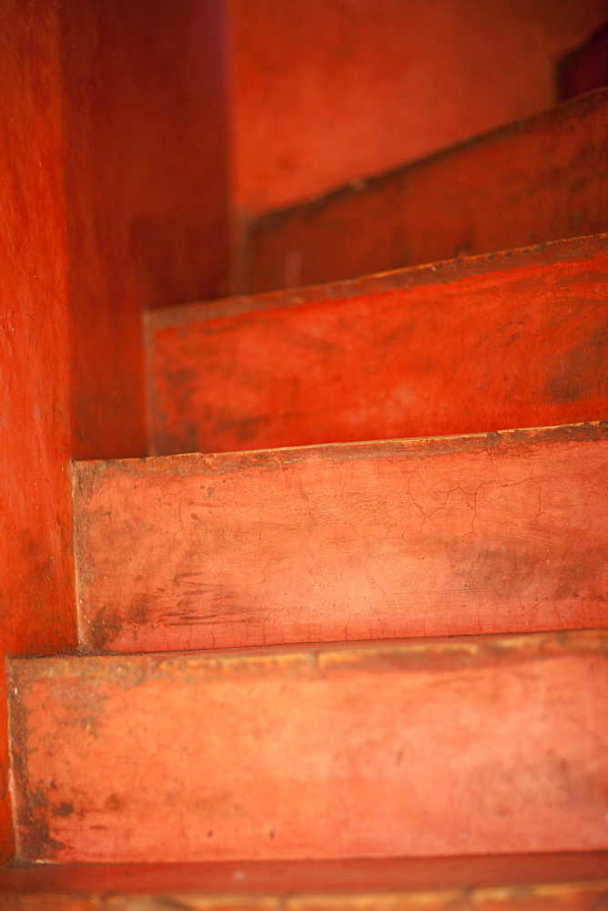 Red steps, Marrakech, Morocco, North Africa, Africa