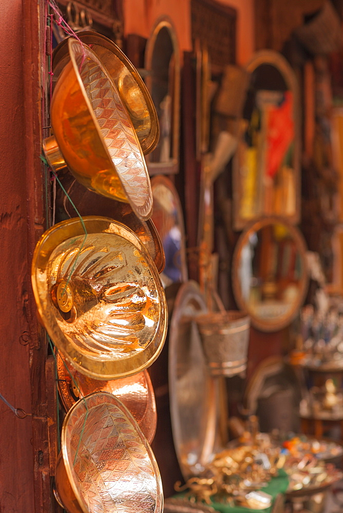 Copper merchant in the Medina, Marrakech, Morocco, North Africa, Africa