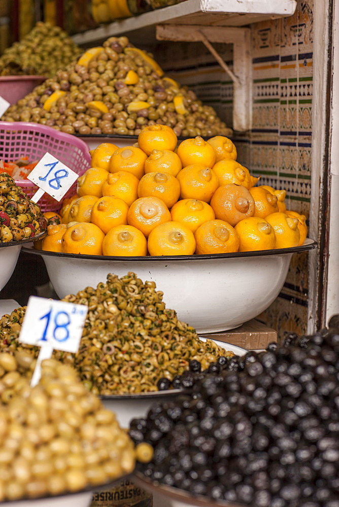 Olives and lemons on sale in the Medina, Marrakech, Morocco, North Africa, Africa