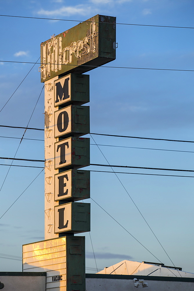 Old Motel sign on Route 66, Kingman, Arizona, United States of America, North America