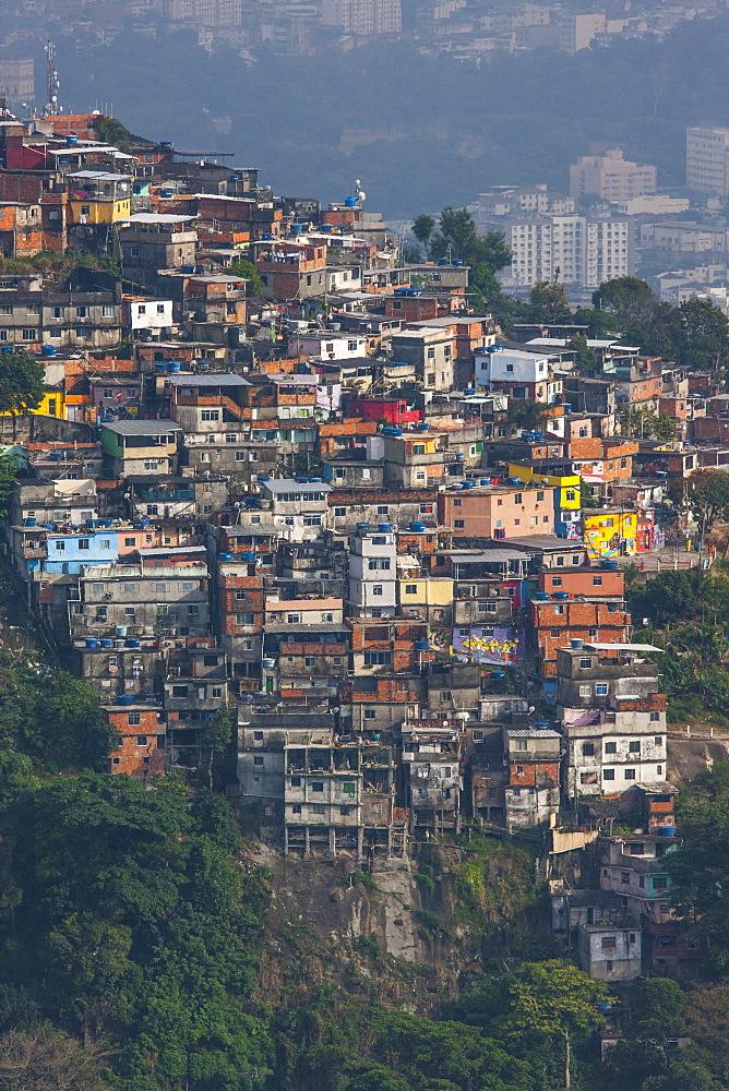 Favela on mountainside, Rio de Janeiro, Brazil, South America