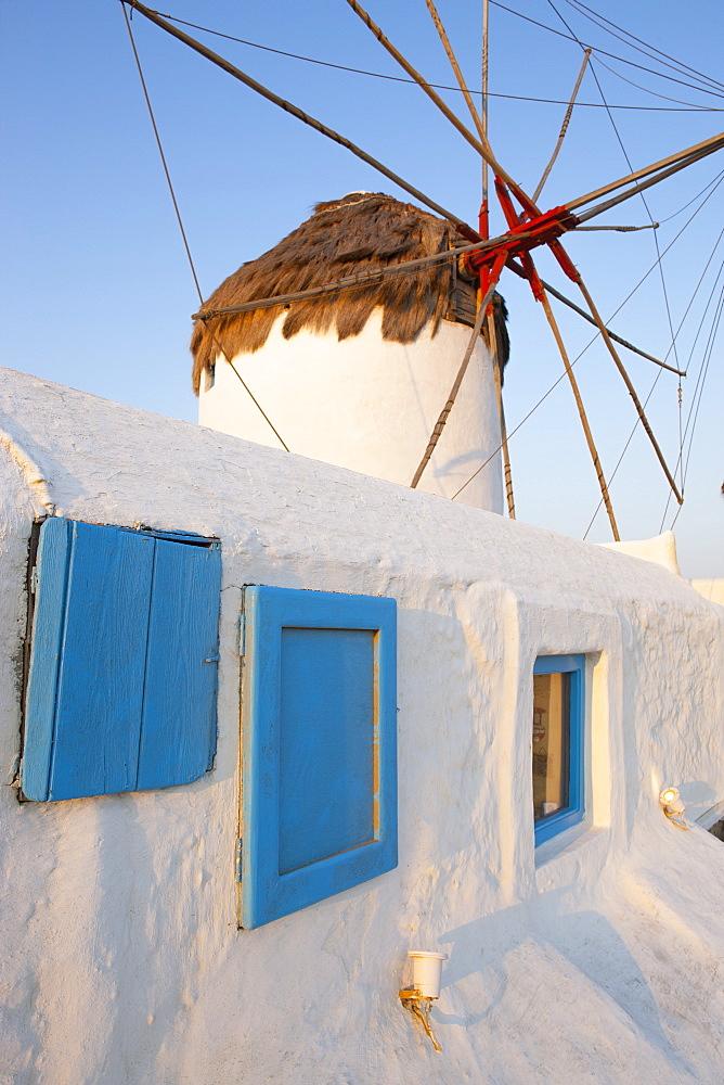Windmill in Mykonos Town, Mykonos, Cyclades, Greek Islands, Greece, Europe