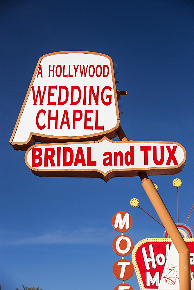 Motel and Wedding Chapel sign. Las Vegas, Nevada, United States of America, North America