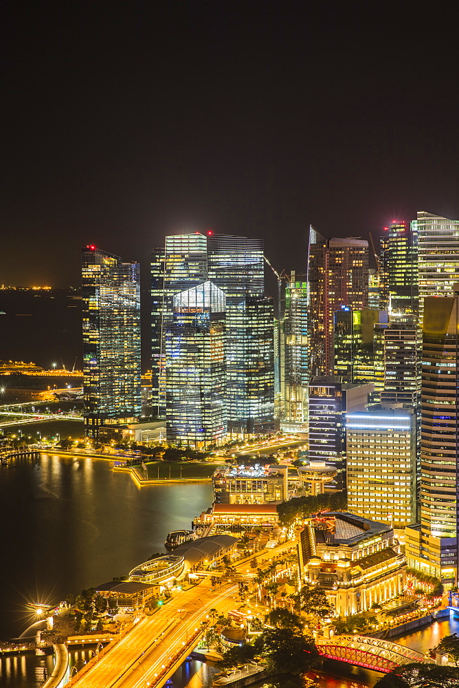 Financial District at night, Singapore, Southeast Asia, Asia - 728-6369