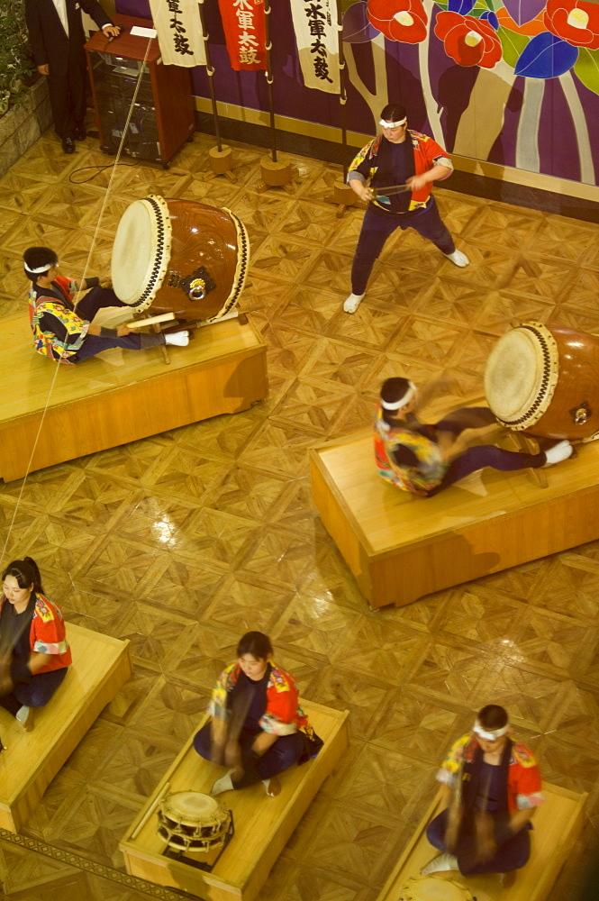 Traditional Japanese taiko drumming performance, Matsuyama, Ehime prefecture, Shikoku island, Japan, Asia - 733-1114
