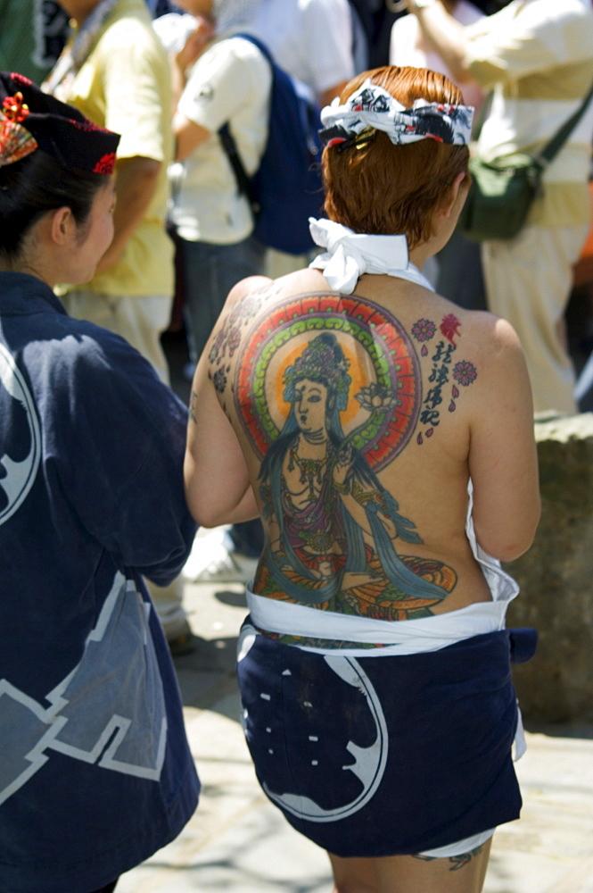Girl with Shiva tattoo on back, Sanja Matsuri Festival, Sensoji Temple, Asakusa Jinja, Asakusa, Tokyo, Japan, Asia - 733-1365