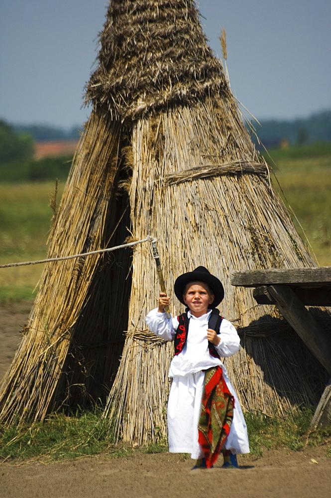 Young Hungarian cowboy, Horse Show, Bugaci Town, Kiskunsagi National Park, Hungary, Europe