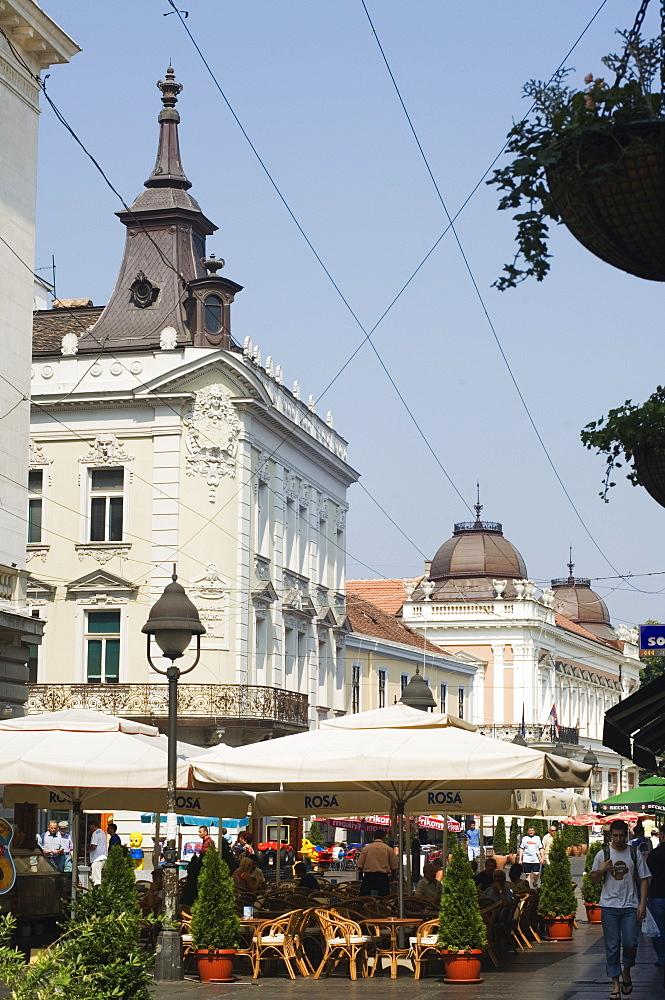 Outdoor cafes on Kneza Mihailova pedestrian boulevard, Belgrade, Serbia, Europe