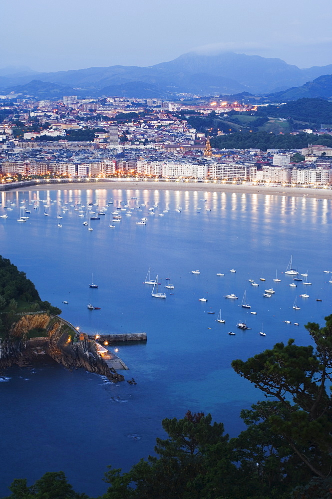San Sebastian Bay at night, Basque Country, Euskadi, Spain, Europe - 733-1529