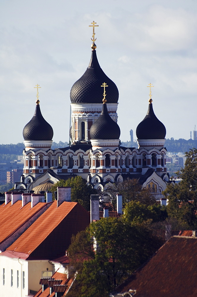 The 19th century Russian Orthodox Alexander Nevsky cathedral on Toompea, Old Town, UNESCO World Heritage Site, Tallinn, Estonia, Baltic States, Europe